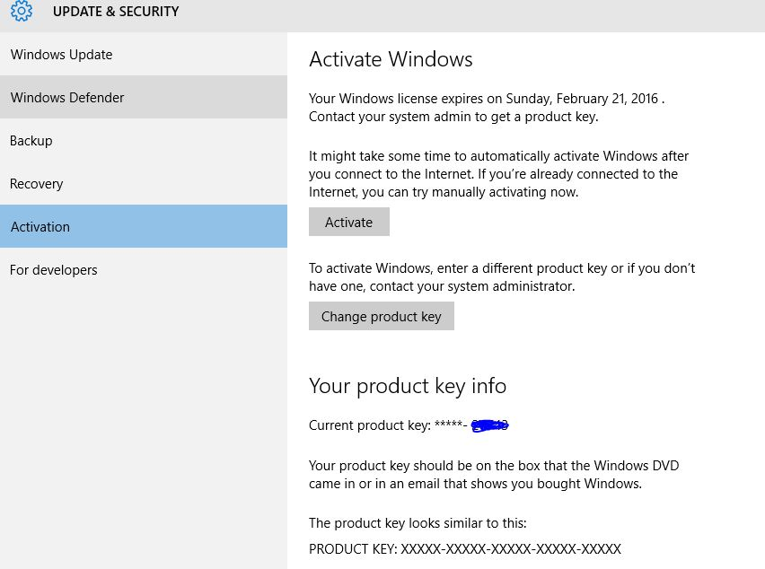 Change windows 10 product activation key update with new for Window 10 product key